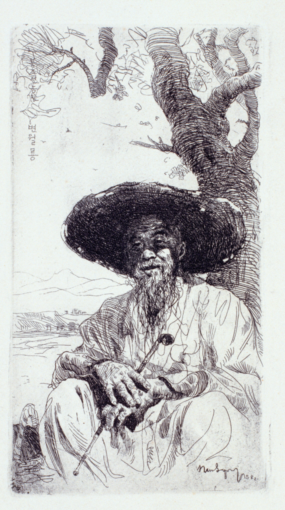 North Korean Farmer Wearing a Broad-brimmed Hat, 1958, Etching, 18.4×10.4cm