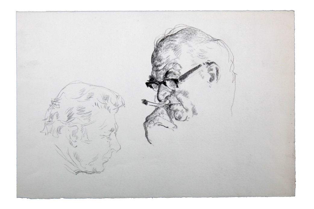Sketch of a Man's Head, 1975, Charcoal on paper, 25×37.5cm