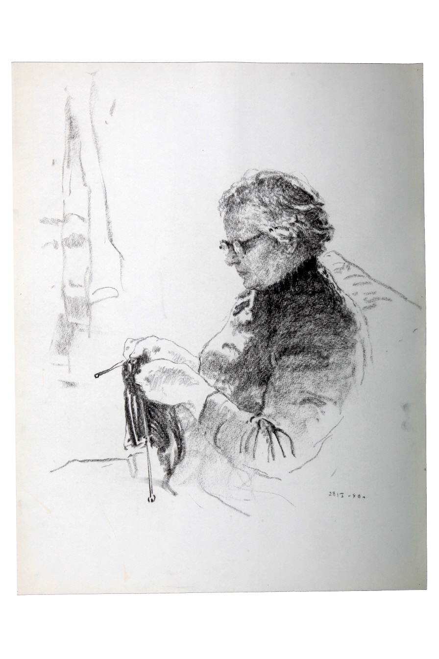Knitting, 1980, Charcoal on paper, 63.8×49.5cm