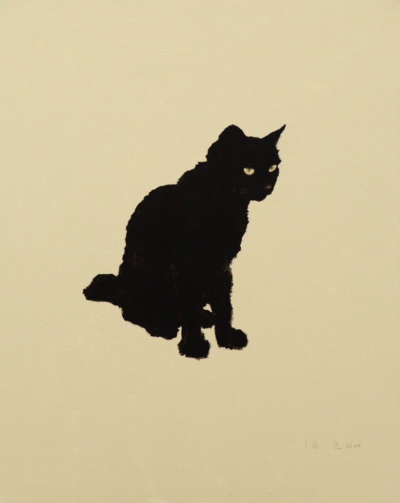 The Stray Cat that Never Approaches, 2018, Acrylic and black ink on canvas, 90.5×72.5cm