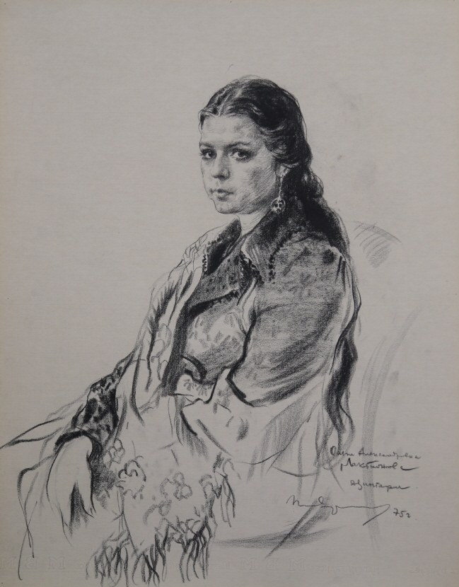 Portrait of O. A. Laktionova, 1975, Charcoal on paper, 63.5×50cm