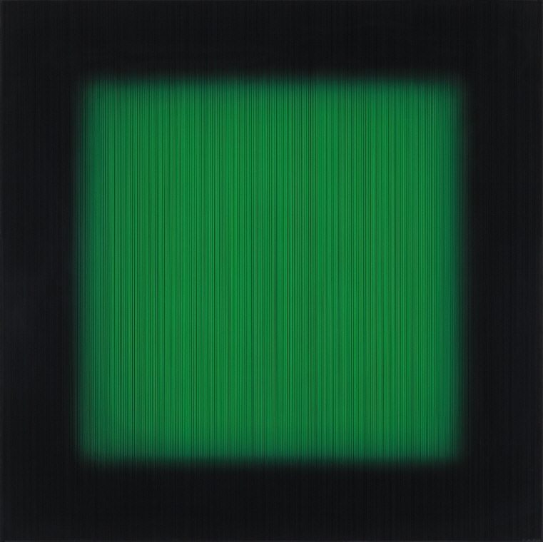 Percy the Green, 2017, Acrylic on epoxy resin, wooden frame, 112x112x6.5cm