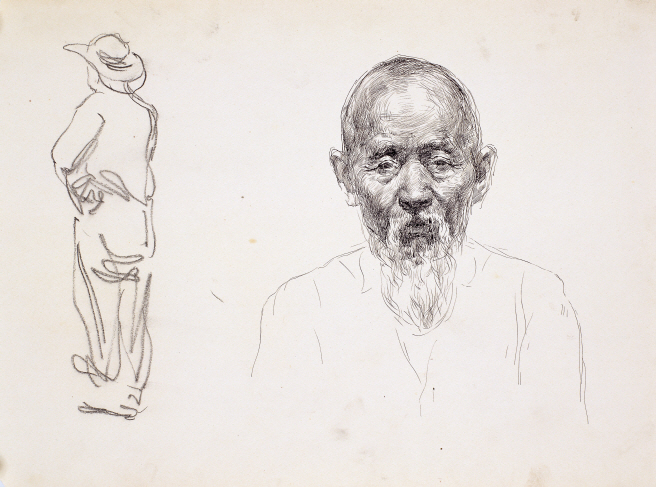 Sketch of a Person, 1946, Charcoal, ink, pen on paper, 28×40cm