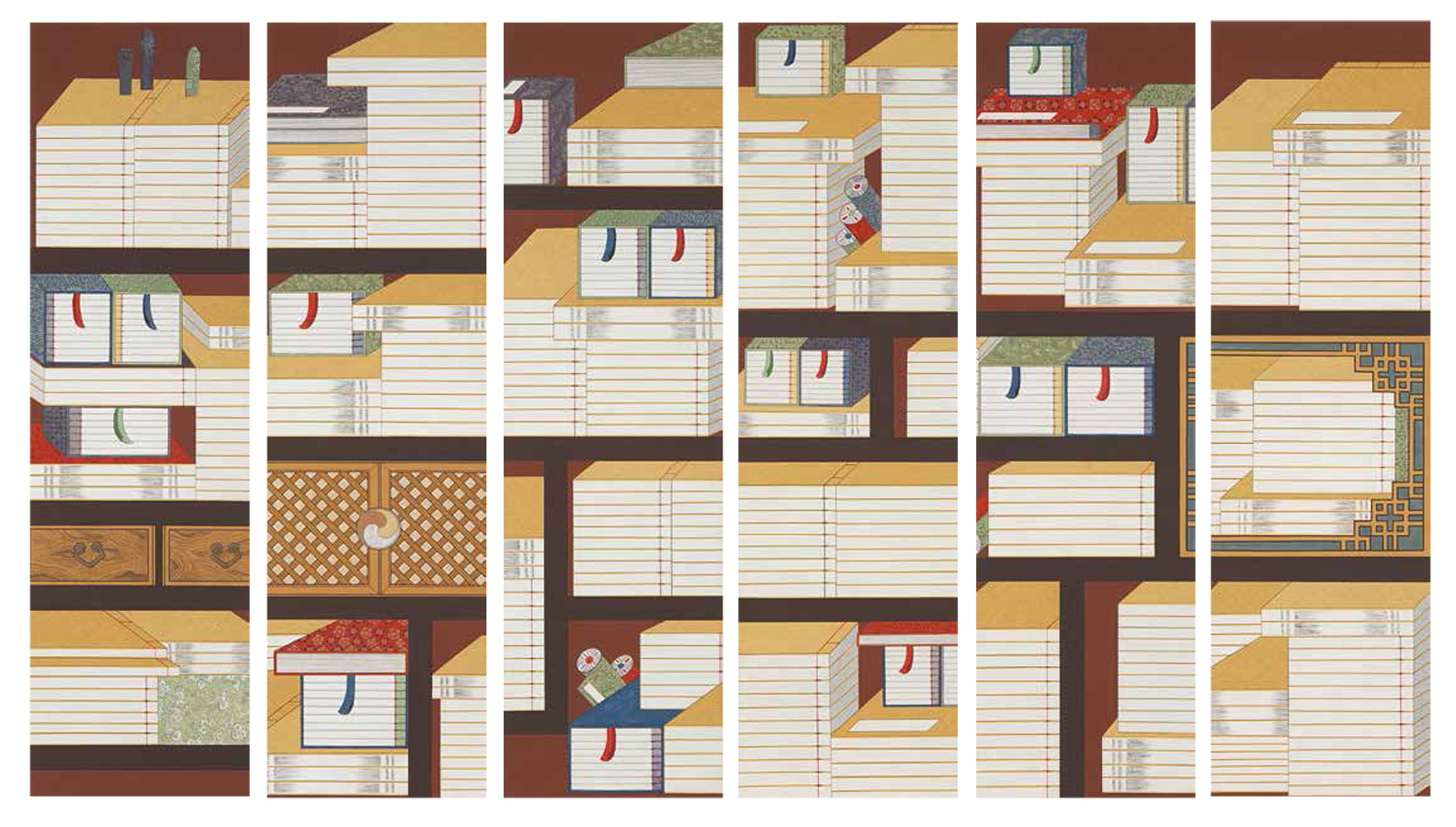Scholar's Accoutrements(Chaekgado), 2014, Color on Korean paper, (36.8 x 131 cm) x 6panels