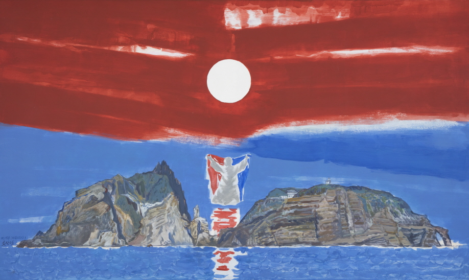 Welcoming Sunrise in Dokdo, 2005, Acrylic on canvas, 150x250cm