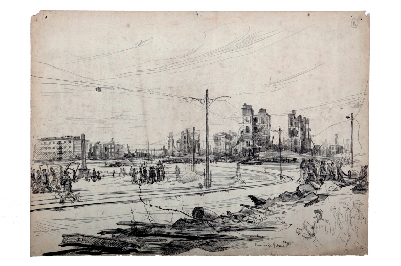 January 9th, a Square in Pyongyang, 1953, Ink, pen on paper, 44×61cm