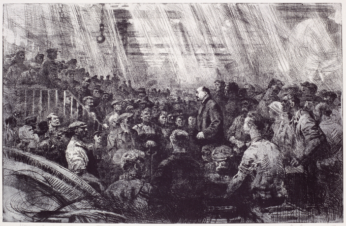 V. I. Lenin Surrounded by Laborers of Petrograd, 1969, Etching, 54×83.7cm