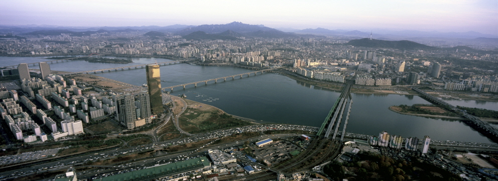 Aerial of Seoul, SOUTH KOREA, 2007, Pigment Print, 57 1/16x19 3/8 inches