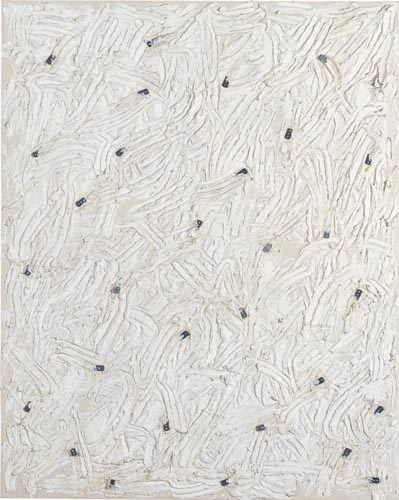 Günther Uecker Action 1989 Bond, plaster(white), nails, canvas on panel board 200x160cm