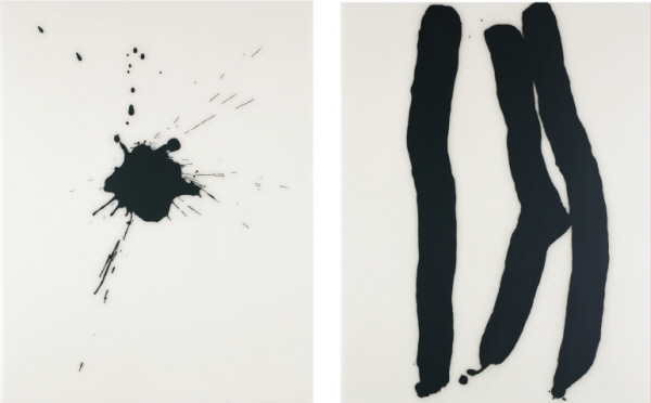 LEE Bae 250608 2008 Acrylic medium, charcoal black on canvas 130x97cm (each)