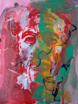 Ekhnaton – red/green acrylic and oil on paper, 24 x 32 cm, 2009