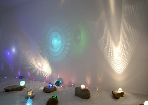 Ezen of Light , Cast glass, LED, Natural stone, Installation View