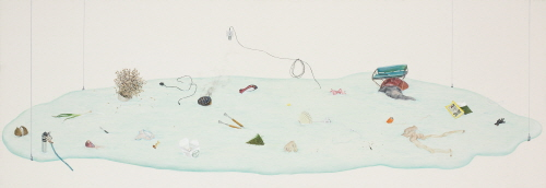 LEE Jinjoo_The story, remained_Korean Color on Fabric_70x200cm_ 2009