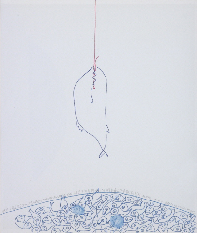 YOON Suknam Whale 2010 Color pencil on paper 42x35cm