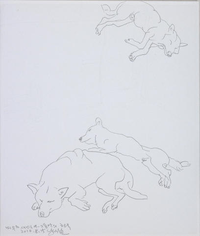 YOON Suknam Bow and Seabyukyi-Their own heven 2010 Pencil on paper 42x35cm