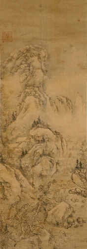 Yi In-mun (Gosongnyusugwandoin)_Simmaedo_Korean ink, colors on silk _110X39cm_18-19C