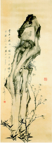 JEONG Hak-gyo (Mongin) - Juksukdo_Koran ink on silk_114×41.5㎝_1913