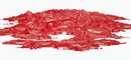 LEE Seahyun Between Red-84 2009 Oil on linen 200 x 600cm