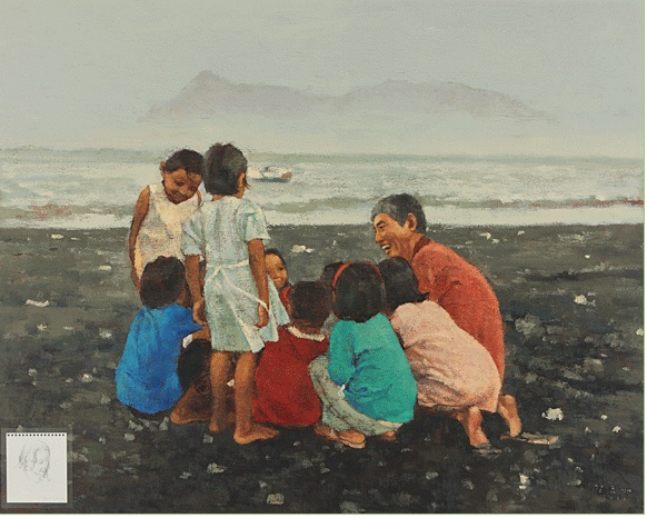 KANG Yobae Children of beach 2006 Acrylic on canvas 181.8x227.3cm