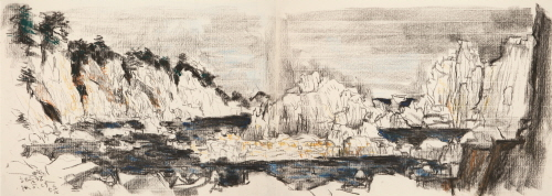 Haegumgang Seashore, 1998, Charcoal and pastel on paper, 39x108cm