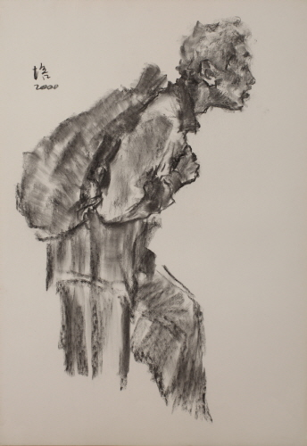 He who carries the haversack, 2000, Charcoal on paper, 77x52cm