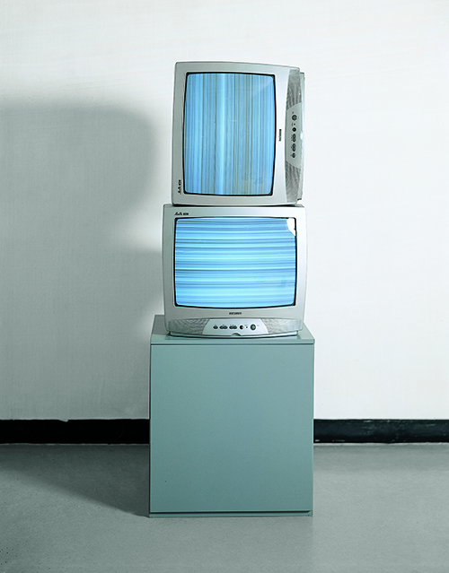 Sound Wave Input on Two TV Sets (Vertical/Horizontal), 1963-1995, 94x51x51cm