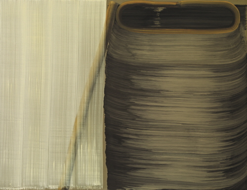 4brushstrokes over 1 brushstroke(on left), and 8brushstrokes(on right),2012,Tempera on canvas,135x174cm