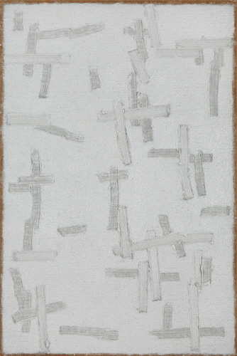 Conjunction 2000-1-4, Oil on and pushed from back of hemp cloth, 180x120cm, 2000