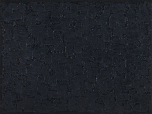 Conjunction 92-05, Oil on and pushed from back of hemp cloth, 121x160.3cm, 1992